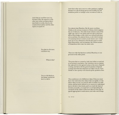 <cite>Phaedrus: a dialogue,</cite> produced by Jack Stauffacher and printed by Jim Faris (San Francisco: Greenwood Press, 1977), 128–129.