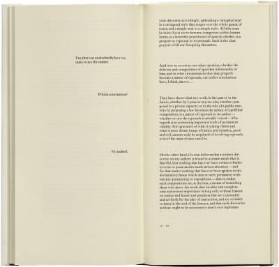 <cite>Phaedrus: a dialogue,</cite> produced by Jack Stauffacher and printed by Jim Faris (San Francisco: Greenwood Press, 1977), 130–131.