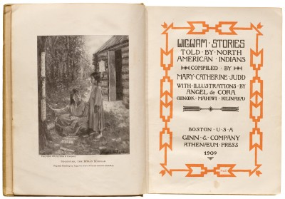 Angel DeCora, title page for Wigwam Stories, 1906 (first published 1902), Collection of LfA.