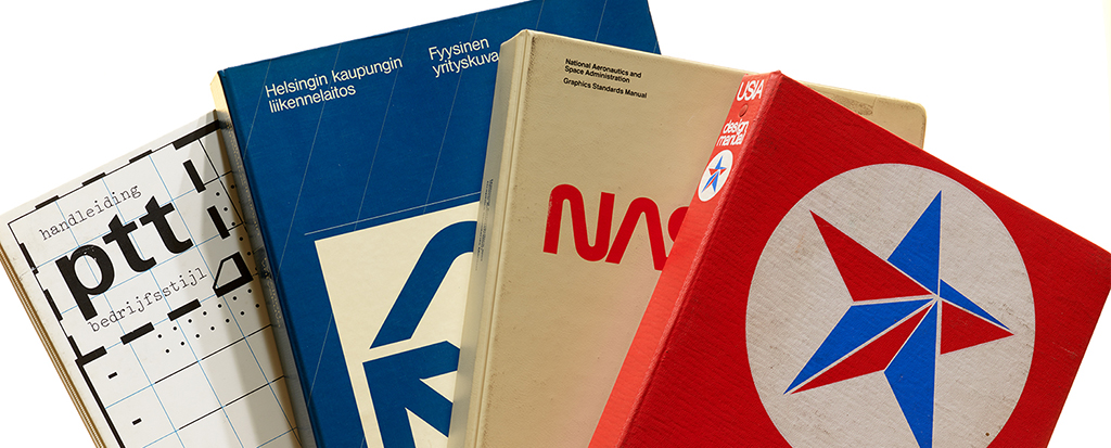 A selection of corporate identity manuals from Dennis Y. Ichiyama's collection