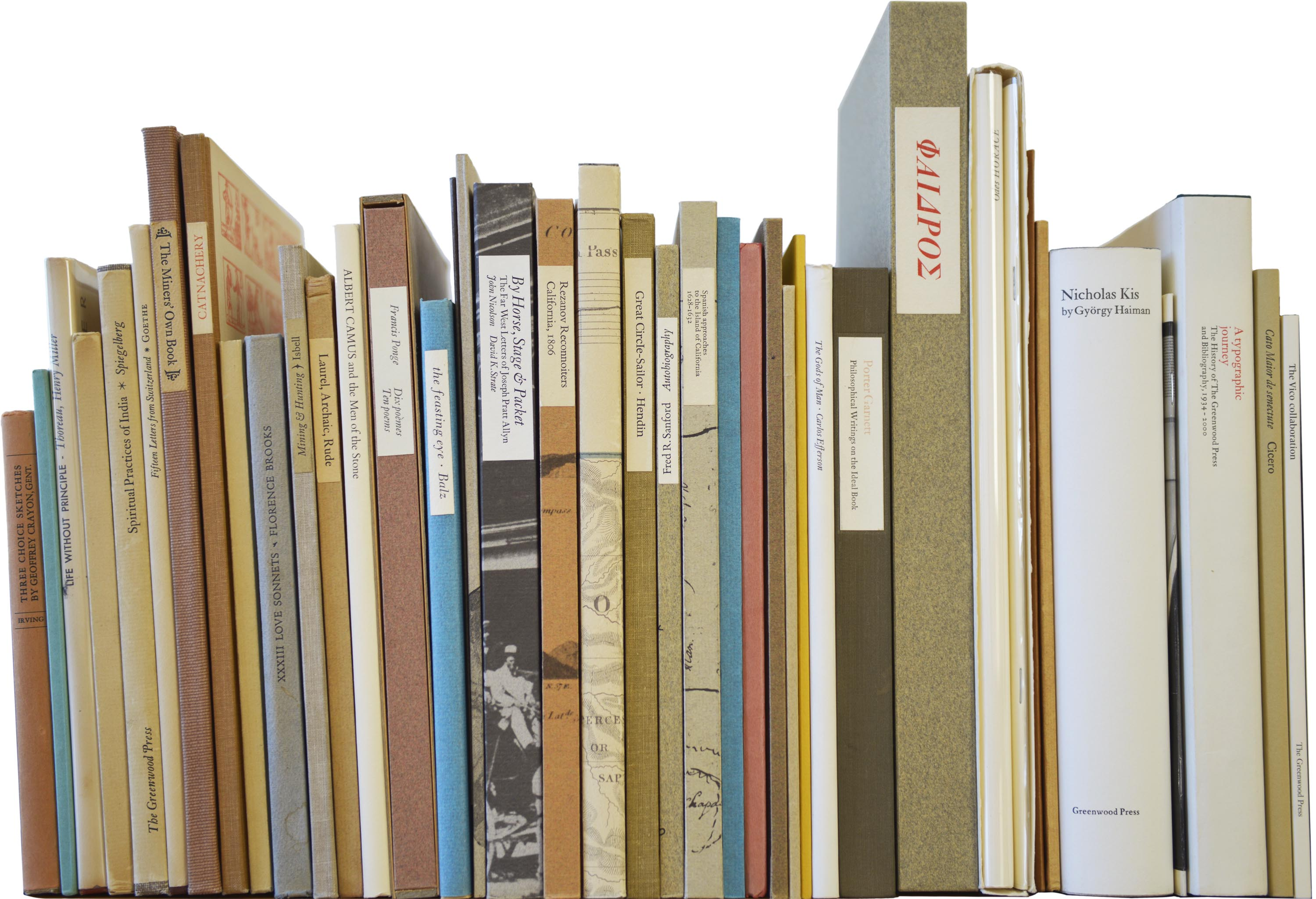 Books by Jack Stauffacher, including editions for the Greenwood Press and Book Club of California, 1941–2004.