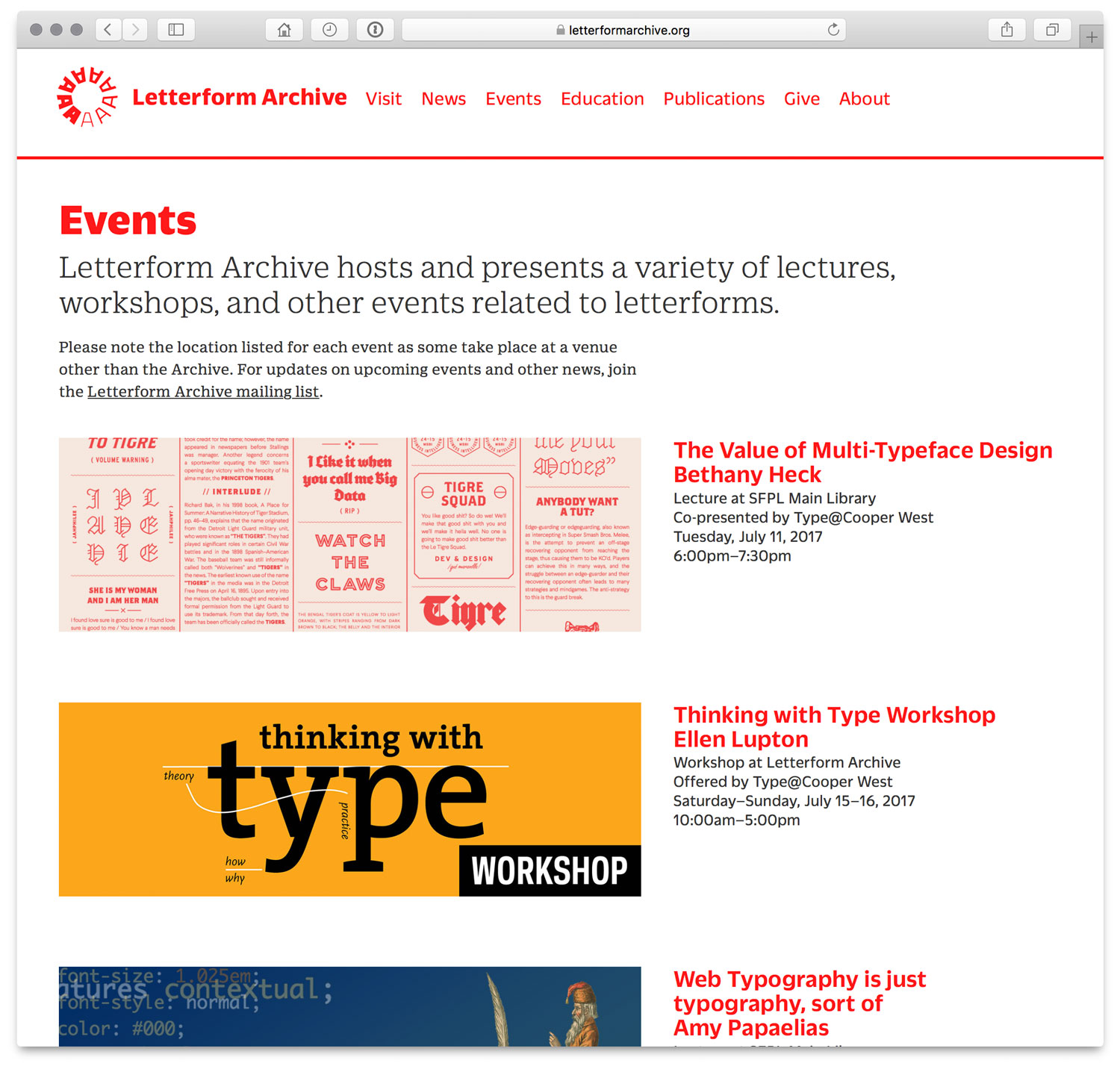 A screenshot of the Events page of Letterform Archive's website in July 2017