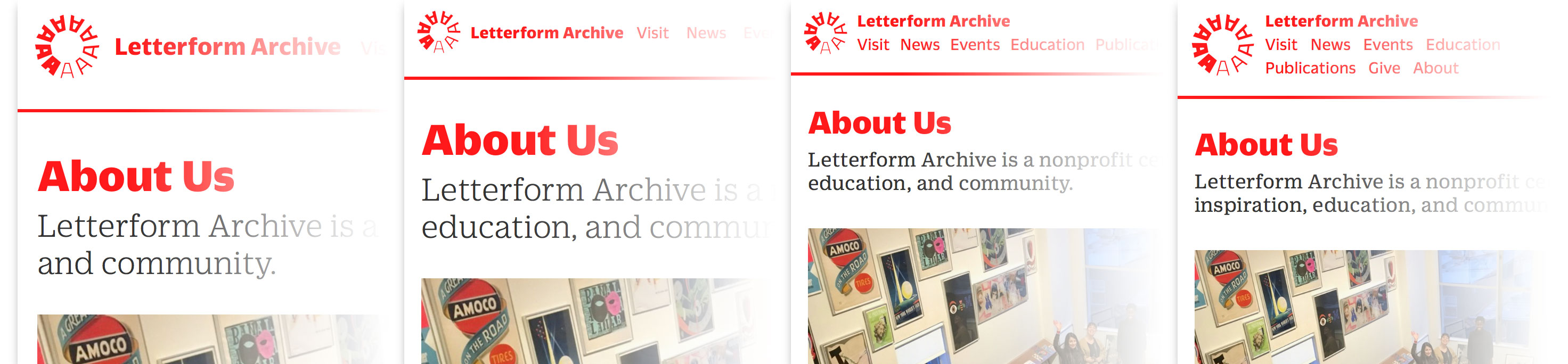 Responsive nav of Letterform Archive website