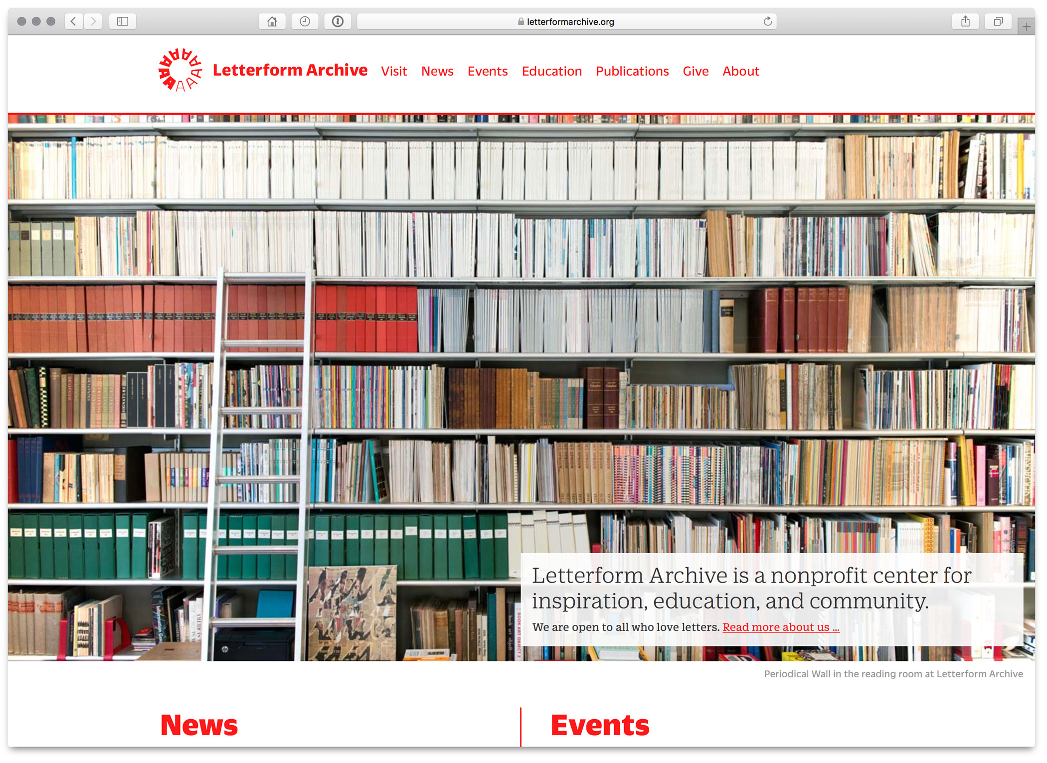 A screenshot of Letterform Archive's website homepage in July 2017