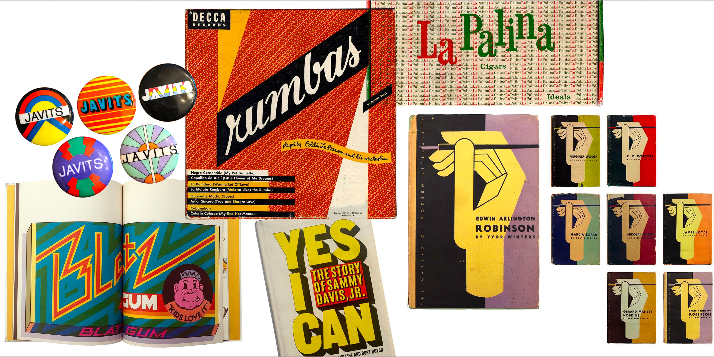 Objects collected by Scott Lindberg, including designs by Milton Glaser, Seymour Chwast, Ladislav Sutnar, Herb Lubalin, Paul Rand, and Alvin Lustig